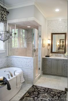 Love the tile behind the mirror.   2015 Birmingham Parade of Homes decorating Ideas.  Built by Town Builders in Mt Laurel, Birmingham Alabama.