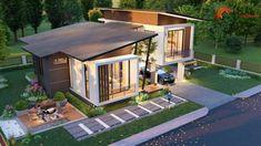 แบบบ้านโมเดิร์นชั้นครึ่ง 3 ห้องนอน 2 ห้องน้ำ สวยทันสมัย อบอุ่นน่าอยู่ - ที่นี่มีสาระ Tropical House Design, Simple House Design, Tropical Houses, Modern Bungalow, Bungalow House Design, Beautiful House Plans, Beautiful Homes, Wooden House Design, Model House Plan