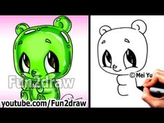 Kawaii - Gummy Bear Drawing Tutorial - Easy things to Draw for Beginners - YouTube