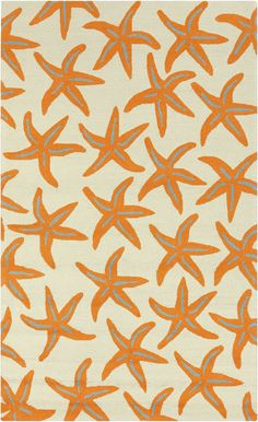 Orange Starfish Area Rug