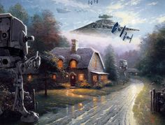 """Some genius named Jeff Bennett has unleashed the full force of the Dark Side on the Painter of Light's treacly, bucolic world in a new series called """"Wars on Kinkade.""""  At the time of his death in 2012, Thomas Kinkade was the most collected living artist in America, with an estimated one in 20 homes owning one of his original paintings. Apparently this made Darth Vader very jealous and angry, so he sicked his automaton army on Kinkade's cutesy compositions."""