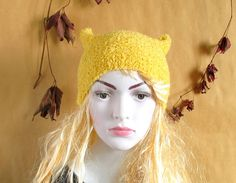 Knit Hat Cat Ears Hat Cat Beanie Chunky Knit Winter Accessories Black Cat Animals Hat cat ears hat
