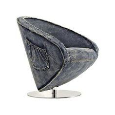 Tapizado en jean, base en acero inoxidable