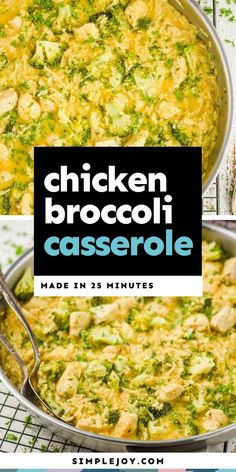 This easy Skillet Chicken Broccoli Rice Casserole is a simple easy 25 minute meal that your family will love. Perfect for busy weeknights. Turkey Noodle Casserole, Chicken Broccoli Rice Casserole, Skillet Chicken, Different Chicken Recipes, Rice Side Dishes, Fast Dinners, Broccoli Recipes, 30 Minute Meals, One Pot Meals