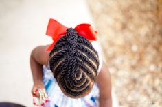 Two Stranded twists to a french braid with a swirl in front.  Cute!