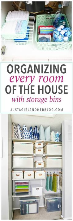 to Organize Every Room in Your House with Storage Bins Love this list of ideas for different types of containers to use to organize each space Click through to the post t. Home Organisation, Household Organization, Office Organization, Bathroom Organization, Bathroom Storage, Bathroom Ideas, Bathroom Shelves, Small Bathroom, Bathroom Closet