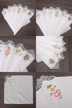 [Visit to Buy] 6PCS Vintage Cotton Women Napkin Embroidered Butterfly Lace Flower Hankies Floral Assorted Cloth Portable Ladies Handkerchief #Advertisement