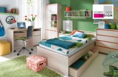 Swap the interior of using smart solutions used in these furniture - double-sided, color strip in the color of lush green or orange energy. Polish Black Red White Modern Furniture Store in London, United Kingdom Modern Furniture Stores, Furniture Sets, Bunk Beds, Small Spaces, Red And White, Kids Room, Toddler Bed, Bedroom, Interior