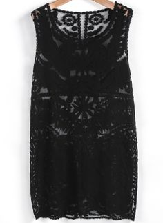 Black Sleeveless Embroidered Lace Tank Dress US$23.88