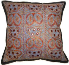 """16"""" BLUE EMBROIDERED PILLOW COVER INDIAN DECORATIVE THROW PILLOW CASES ZIP BK"""
