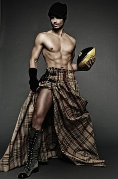 What? a long kilt and a football?