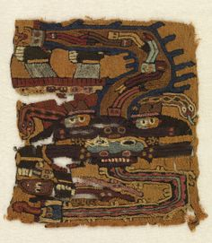 Peru. Fragment, 300–100 BC Medium: wool Technique: embroidered in stem stitch on plain weave foundation. Bequest of Marian Hague. 1971-50-7.