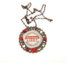 Recycled Beer Bottle Cap Necklace with Swarovski Crystals