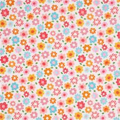 white patterned flower poplin fabric by Cosmo from Japan