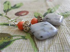 Earrings of Blue Fire Quartz Smokey grey with Orange by JoJosgems, $18.00