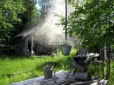 Savusauna - Smokesauna is a traditional sauna without a chimney, so all smoke spread outs to sauna. Traditional Saunas, Finnish Sauna, Best Cleaning Products, Smokehouse, Wellness, Once In A Lifetime, Country Living, Finland, Summertime