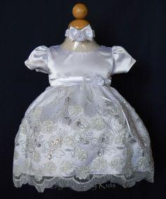 New Baby Flower Girl White Satin Dress Wedding Easter Christening Baptism Party  #BabyKloset #ChristeningBaptismEasterDressyHolidayPageantWedding