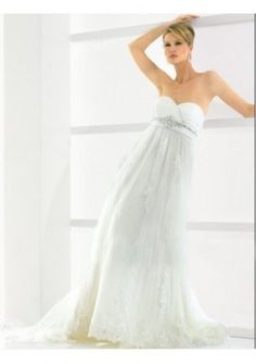 Tulle Strapless Sweetheart Neckline With Rouched Bodice And Empire Slim A-line Skirt Fashion 2011 Hot Sell Informal Wedding Dres