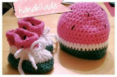 Wassermelone Mütze und Schuhe Babyset für die süße Maus meines Cousins