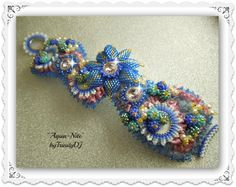 """Listed for sale in my Etsy shop: """"Aqua Nite"""" - Bead Embroidered and woven BRACELET. Please follow this link for more info: https://www.etsy.com/listing/179798274/aqua-nite-bead-embroidered-and-woven?ref=shop_home_active_1"""