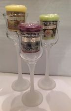 Partylite Set of Three Tulip Candle Holders with Votive Candles $14.95 OBO FREE SHIPPING