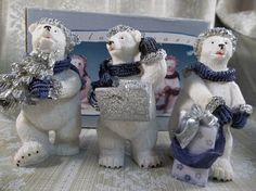 Lot 3 Polyresin Lincolnshire Christmas Collection of Polar bears  2001 | jjandedt - Collectibles on ArtFire