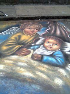 Jr. Cuzco, cercado de Lima. Dibujo hecho con tiza sobre asfalto.