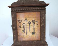 Steampunk key cabinet altered box jewellery hanger holder hook wooden