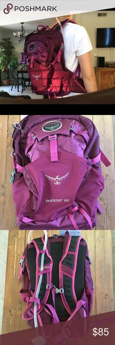 Osprey Skimmer 22 Hydration Pack Women's 2.5 liter volume hydration backpack in Plume Purple/Magenta. It is brand new, with tags, and has never been used. Hydration pack and mouthpiece has never been opened. Osprey Bags Backpacks