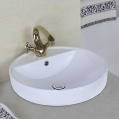 Above Counter Round Vessel Sink with Overflow