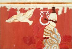 Lyre Player and Bird Fresco from Pylos Throne Room - watercolor reconstruction by Piet de Jong