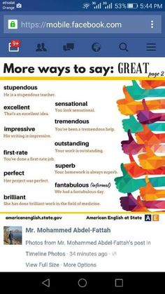 More Ways to Say Great - English Learn Site English Vocabulary Words, Learn English Words, English Idioms, English Writing, English Study, English Lessons, English Class, English English, English Language Learning