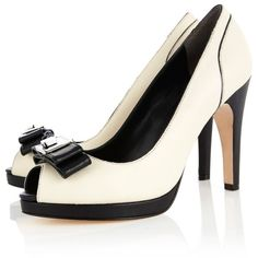 Karen Millen Posh Black and White Peep (£100) ❤ liked on Polyvore featuring shoes, pumps, heels, zapatos, high heels, high heel pumps, leather platform pumps, platform shoes, leather shoes and black and white peep toe pumps
