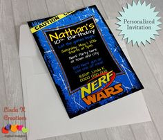 Nerf Birthday Party Invitations Awesome Nerf Party Personalised Invitation Diy by Lindakcreations On Etsy Minecraft Birthday Invitations, Birthday Invitation Message, Nerf Birthday Party, Minnie Mouse Birthday Invitations, Nerf Party, Free Printable Birthday Invitations, Minecraft Birthday Party, Personalized Invitations, Diy Invitations