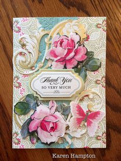 Anna Griffin Thank You card with pink roses and butterfly