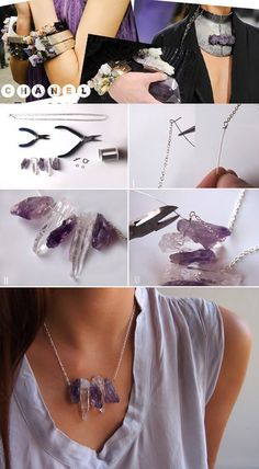 Step by step to make beautiful necklace with stones quartz and amethysts.