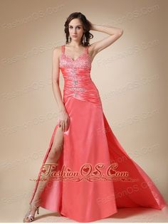 Watermelon Red Column Straps Brush Train Elastic Wove Satin Beading Prom / Evening Dress  http://www.fashionos.com   floor length prom dress | summer collection | inexpensive prom dress | 2013 popular prom dress for celebrity | autumn collection | online store sell prom dress | sweetheart beaded prom dress |
