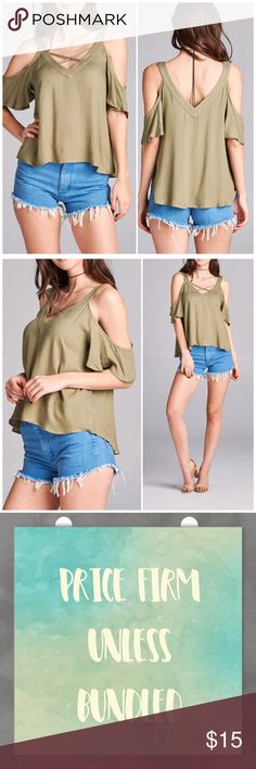 Spring Olive Cold Shoulder Strappy v neck top Spring Olive Cold Shoulder Strappy v neck top. Fits true to size small 4/6, medium 8/10 and large 12. 100% Rayon. Available in other colors in my closet. PRICE FIRM UNLESS BUNDLED. Bundle 3+ and save 15%! Tops