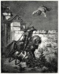 """""""... Nor did the flying Sancho cease his lamentations"""". Gustave Doré. From El ingenioso hidalgo Don Quijote de la Mancha (The ingenious gentleman Don Quixote of la Mancha), vol. 1, by Miguel de Cervantes, Barcelona, 1892."""