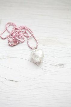 White Glass Heart in Pink Ball Chain  #ecrafty @ecrafty #ballchains