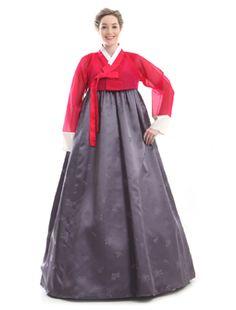 Custom Made Silk Red Grey Evening Full Length Hanbok Korean Traditional Dress
