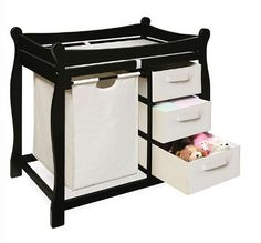 Baby Furniture Changing Table Diaper Storage Pad Nursery Station Black 3 Basket