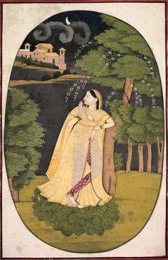 Utka Nayika, c. 1800.  India, Pahari Hills, Kangra School, early 19th Century