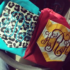 Leopard and Chevron Monogrammed Pocket  Shirts