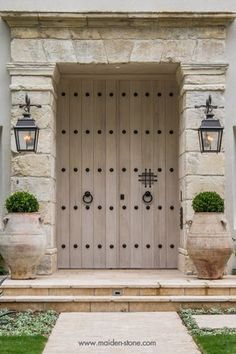 Mediterranean Front Door with exterior stone floors, Pathway, Natural stone, exterior tile floors click the image or link for more info. Front Door Entrance, Front Entrances, Entrance Gates, House Entrance, Entry Doors, Exterior Tiles, Exterior Design, Interior And Exterior, Stone Exterior
