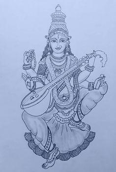 Ideas Cats Drawing Design Coloring Books For 2019 Kerala Mural Painting, Tanjore Painting, Indian Art Paintings, Outline Drawings, Art Drawings Sketches, Pencil Drawings, Hunger Games Drawings, Madhubani Art, Hindu Art