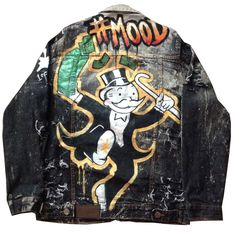 """Custom hand painted image of the popular Monopoly Man holding a stack of money. This should be the """"Mood"""" of everyone wearing this jacket. Custom made to order custom pieces may be slightly different from the product shown Painted Denim Jacket, Painted Jeans, Painted Clothes, Hand Painted, Handmade Clothes, Custom Clothes, Custom Denim Jackets, Costum, Custom Monopoly"""