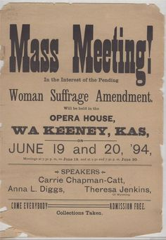 Mass meeting for women's suffrage poster