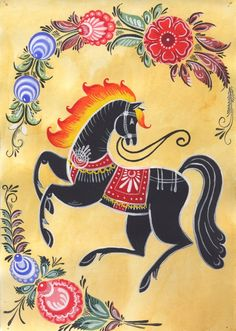 Folk Embroidery Ideas Folk Gorodets painting from Russia. Floral pattern with a horse . Polish Folk Art, Russian Folk Art, Art Populaire, Scandinavian Folk Art, Folk Embroidery, Embroidery Patterns, Art Graphique, Naive Art, Equine Art
