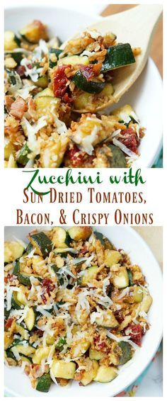 Zucchini with Sun Dried Tomatoes, Bacon, and Crispy Onions is a flavor packed side dish recipe that your family will ask for again and again this zucchini season!